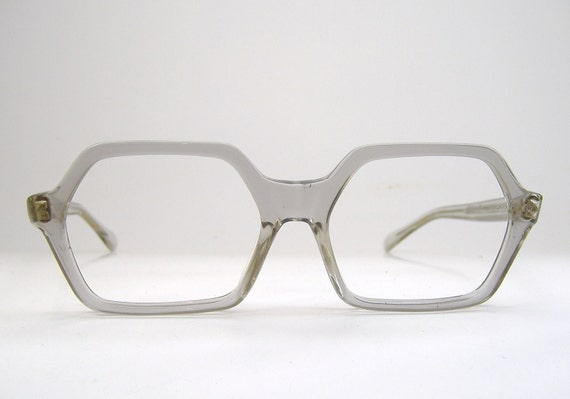 Vintage1980s Crystal Big Lens Eyeglasses Eyewear Frame NOS