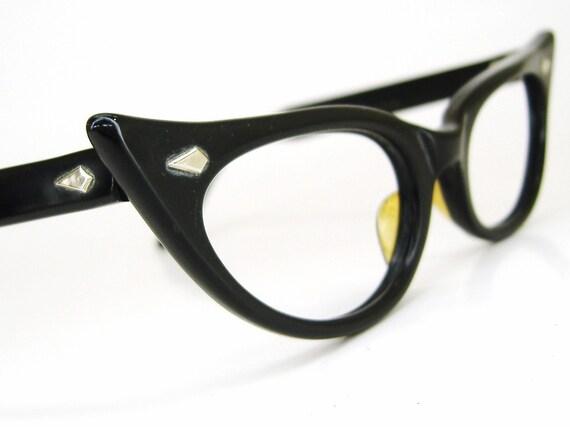Vintage 50s Black Cat eye Glasses Eyeglasses 1950s Eyewear Frame