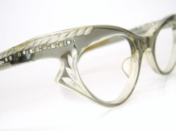 Vintage Translucent Grey Horn Rim Cat Eye Glasses Eyeglasses 1950s Eyewear Frame With Rhinestones