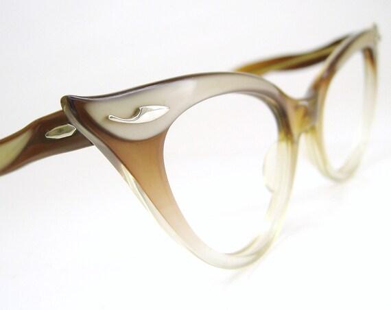 Vintage Bausch&Lomb Winged Cateye Eyeglasses Eyewear Frame