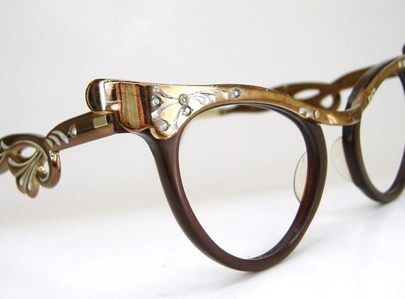 Vintage 50s Bronze Horn Rim Cateye With Rhinestones Eyeglasses Eyewear Frame