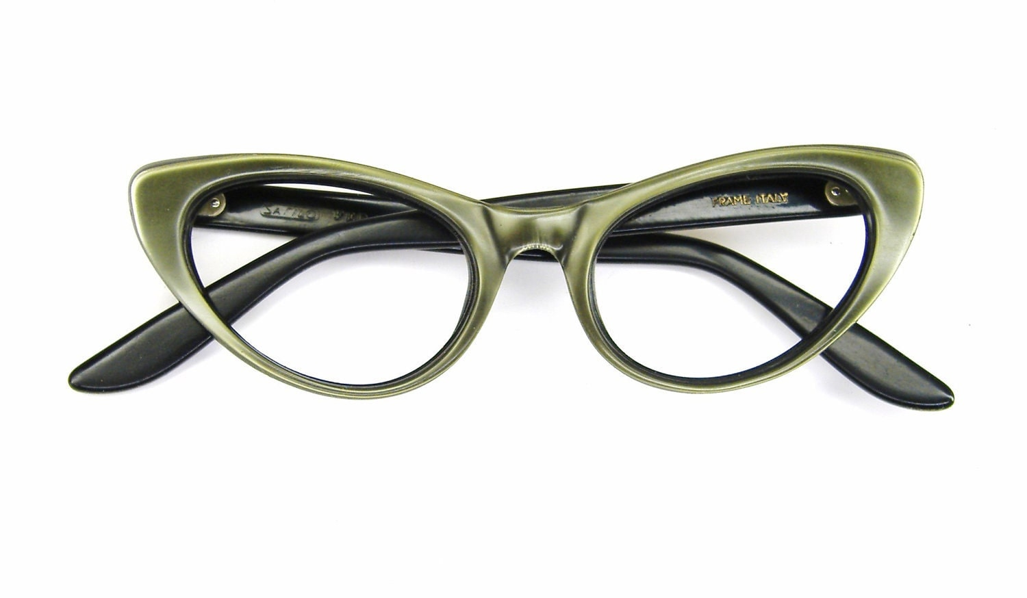 Glasses Frame Discoloration : Vintage Green Cateye Eyeglasses Eyewear Frame