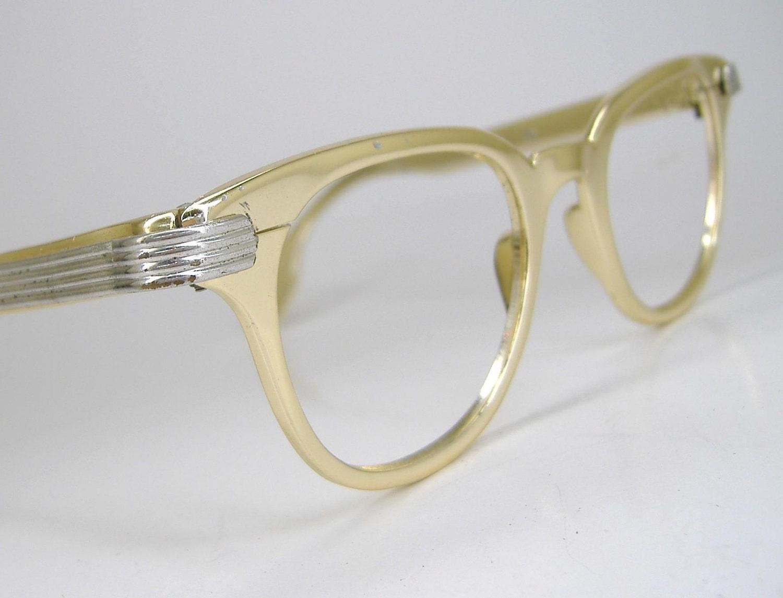 Vintage 50s Tura Gold Eyeglasses Eyewear Frame