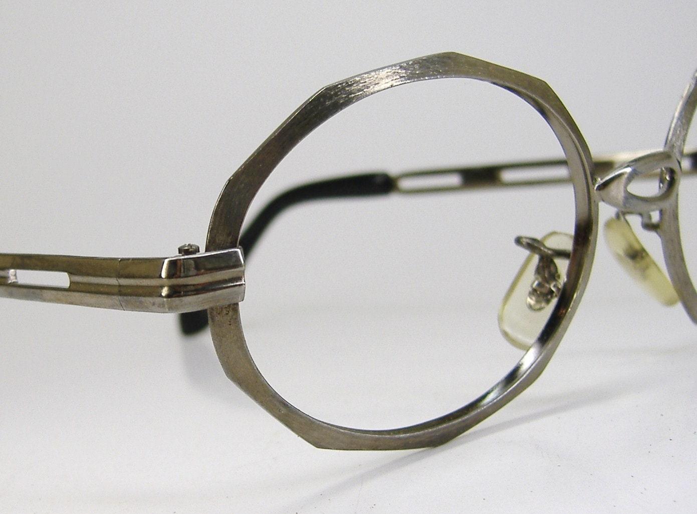 vintage silver 80s eyeglasses eyewear frame nos