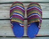 Recycled Felted Wool Slippers womans size small (6-8)  Mens size (5-7)