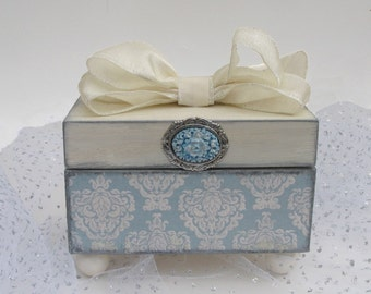Decorative Keepsake Trinket Jewelry Box Versailles Damask French Blue or Ring Bearer Box