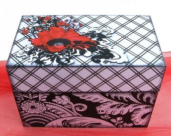 Recipe Box Black, Red and White Damask Crimson Poppies Personalized Wooden