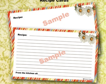 Printable Recipe Cards 3 x 5 Digital Sheet coordinates with In My Garden Recipe Box
