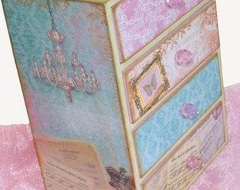 Personalized Jewelry Chest Box Pink Parisian Enchantment Damask
