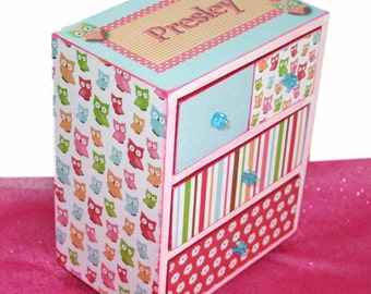 Jewelry Box Personalized Girl Cute Hoot Owl Hot Pink, Lime Green and Turquoise