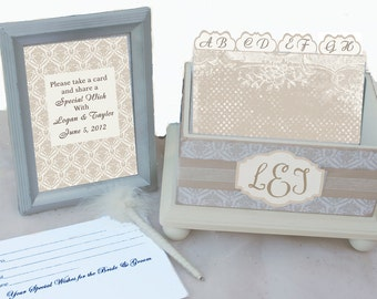 Wedding Guest Book Box Set Country Chic Cream and Beige