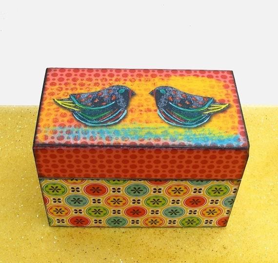 Wooden Recipe Box Tutti Frutti  Birds Personalized