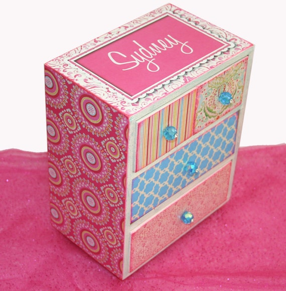 Girls Jewelry Box Bohemian Princess Personalized Hot Pink & Turquoise
