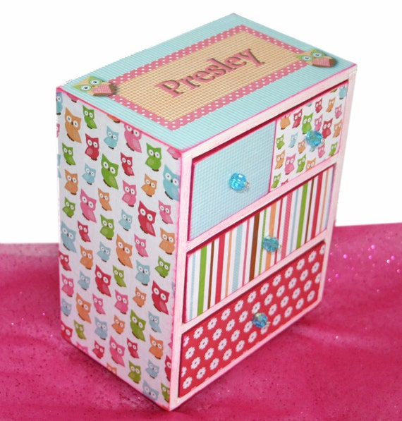 Jewelry Box Cute Hoot Owl Personalized Hot Pink, Lime Green and Turquoise