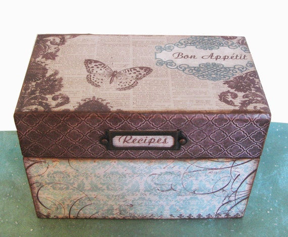 Personalized Wooden Recipe Box French Vintage Teal and Chocolate Brown