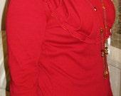 RESERVED for LoraFan Ruffled Neckline Dress in RED