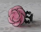 Pink Strawberry Kiss Rose RIng on a Vintage Black filigree