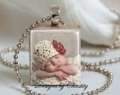 Custom Photo Pendant Scrabble Charm Necklace