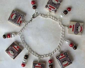 Sock Monkey Custom Charm Bracelet