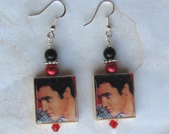 Classic Elvis Presley King of Rock N Roll Charm Earrings