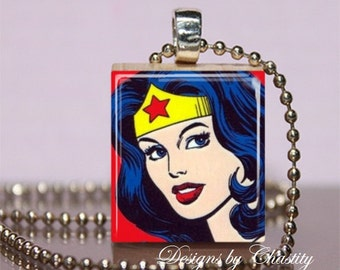 Wonder Woman Scrabble Necklace