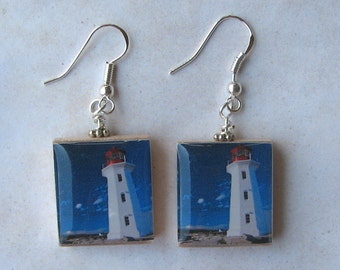 Lighthouse Ocean Front Scrabble Earrings