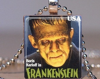 Frankenstein Stamp Scrabble Charm Necklace