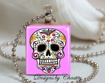 Pink Sugar Skull Scrabble Charm Necklace