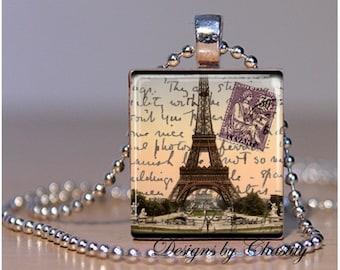 Paris France Eiffel Tower Postcard Scrabble Charm Necklace