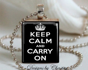 Keep Calm and Carry on Scrabble Necklace