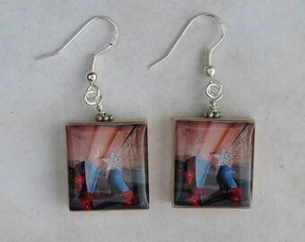 Dorothy's Rubby Red Slippers Scrabble Earrings