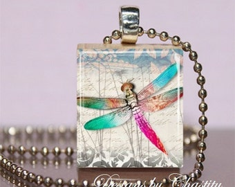 Dragonfly Scrabble Charm Necklace