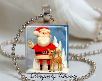 Santa & Rudolph the Red Nosed Reindeer Scrabble Charm Necklace