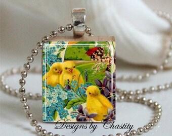 Vintage Easter Chicks Scrabble Charm Necklace