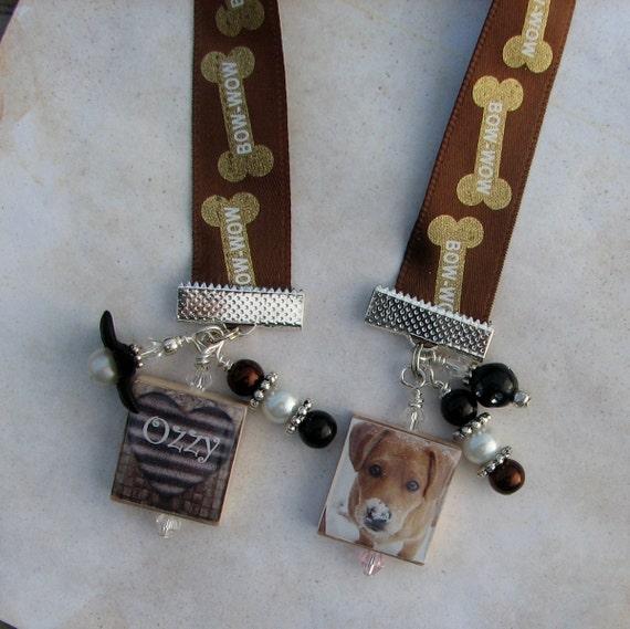 Personalized Custom Pet Photo Charm Ribbon Bookmark