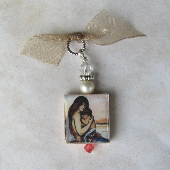Vintage Mermaid with Child Ocean Dreams Art Image Pendant