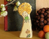 YELLOW DANDELION FAIRY - eco friendly natural toy - summer waldorf nature table decoration