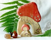 Fly Agaric MUSHROOM HOUSE  and gnome - waldorf wooden toy for nature table
