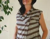LAST SALE 50% off!!!! under 50,  WRAP asymmetrical top in grey and brown.