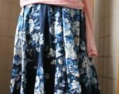 NEW flower blue cotton full round skirt elastic belt