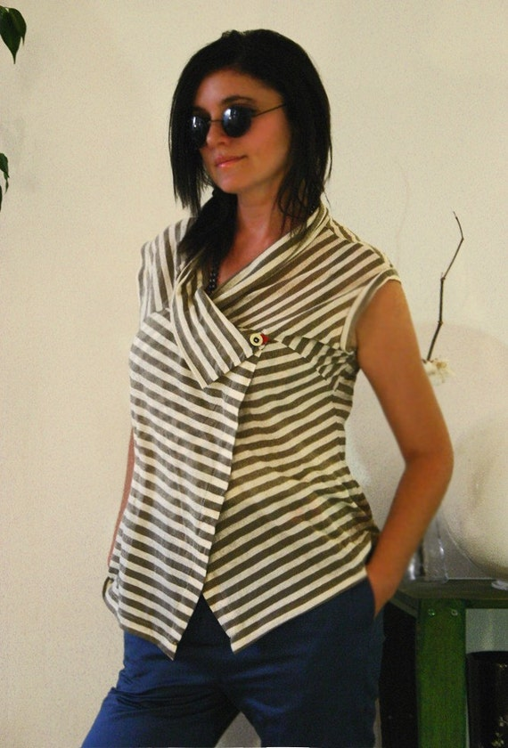 SALE 30% WRAP asymmetrical top in beige strips