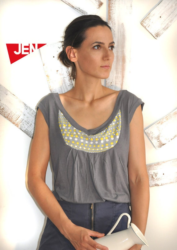 SALE APRON SHIRT in grey  with yellow dots