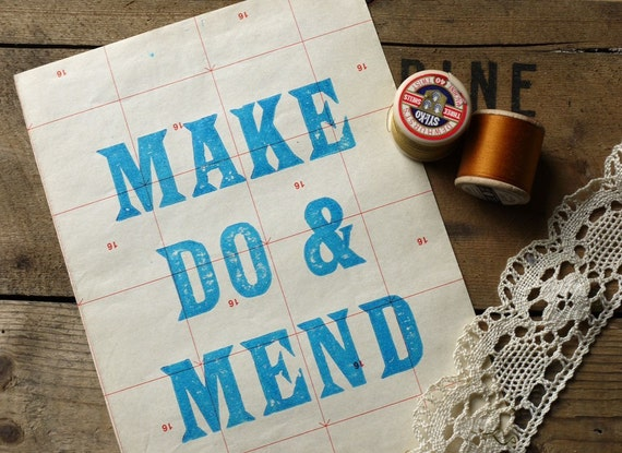 Letterpress Make Do and Mend Limited Edition Print Blue