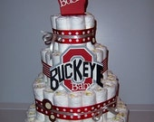 Basic Red and Gray Ohio State Diaper Cake