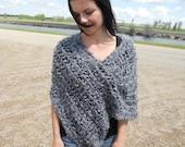 Luxury Handknit Shawl, Wrap, Cowl, Poncho in grey color