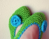 Knitted house slippers for woman / handmade shoes/ green and turqoise blue color / crochet flower / size 7-9