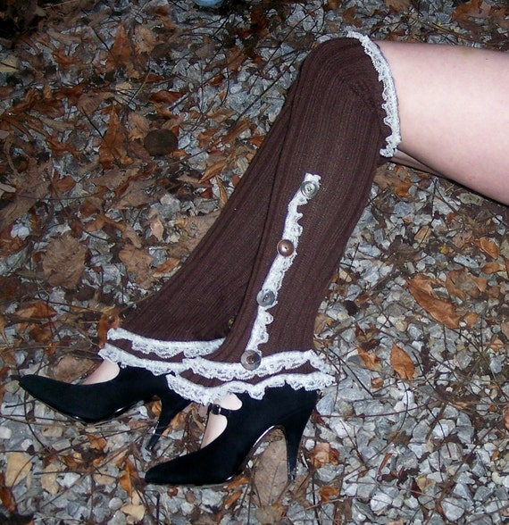 Thigh High Lacy Victorian Autumn Button Spats pre-made ready to ship