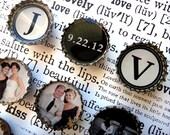 WEDDING ENGAGEMENT ANNIVERSARY photo gift favor monogram 10 Bottle Cap Magnets