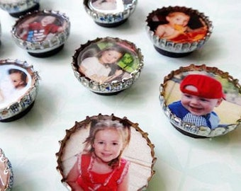 15 Custom Magnets using favorite PHOTOS recycled bottle caps Photo Gift Idea