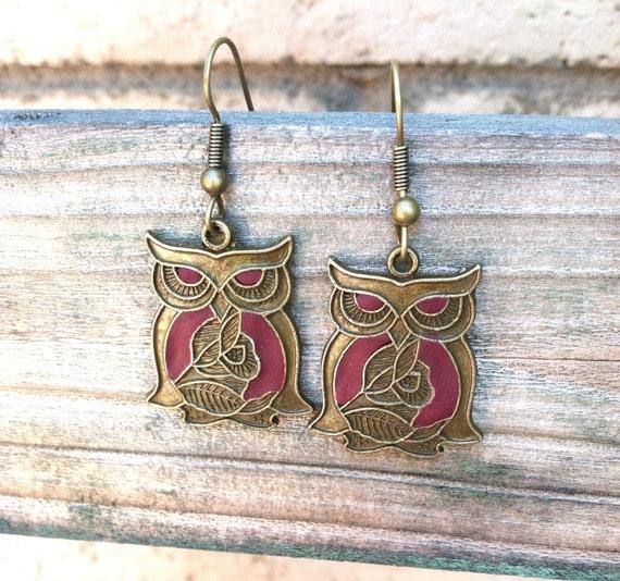 Plum Bronze Owl Earrings